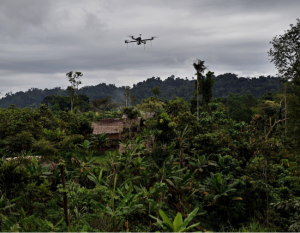 A drone flying over the dense vegetation of Papua New Guinea. Photo: Matternet