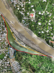 The Grey River around camp St-Étienne. The blue line is the camp boundary, orange is the riverbank before Sandy, in red the riverbank immediately after Sandy. Black is the projected wall to be built by IOM to protect the camp from future floods. Photo:  IOM