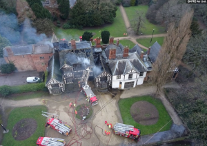 A severely damaged building as seen by the drone. Photo: GMFRS